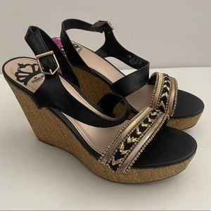 Fergalicious Rumor Black Bling Wedge Sandals 8.5
